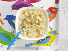 Creamy Chicken Vegetable Soup by Annabel Karmel Vegetable Soup With Chicken, Vegetable Soup Recipes, Chicken And Vegetables, Healthy Toddler Meals, Kids Meals, Toddler Food, Healthy Foods, Healthy Life, Healthy Eating