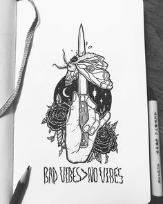 """aily Draw """"Bad Vibes > No Vibes"""" ᐂfeeling something at least . Swipe to see initial sketch . Bad Drawings, Tattoo Drawings, Illustrations, Illustration Art, Wicca, Occult Tattoo, Sad Art, Daily Drawing, Hand Tattoos"""