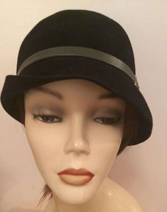 Velour Cloche with leather band and Vintage Inspired Buckle by Artikalnyc on Etsy