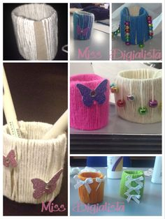 Recycled toilet rolls and wool small containers.