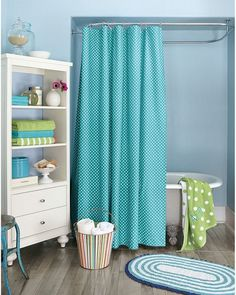 Love the teal and lime green. Kids bathroom