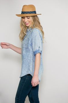Connect the Dots Chambray Tunic