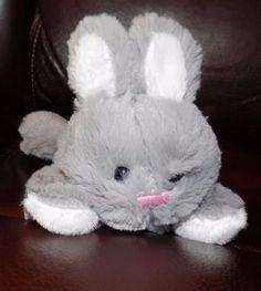 7-034-2016-Animal-Adventure-LAYING-DOWN-Grey-amp-White-SOFT-Plush-Bunny-Rabbit
