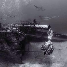 LOVE this capture of me by @ken_kiefer_underwater @hayleyjocarr #goprowithhayleyjo #underwater #underwaterphotography #ocean #bnw #wreck #underwatermodel #shark