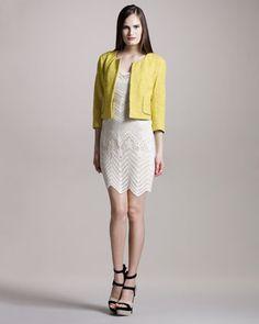 Happy Jacket & Crochet Tank Dress by Gryphon #Jacket #Dress #Gryphon