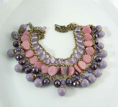 Miriam Haskell Dangling Purple and Pink Glass Bead Bib Necklace