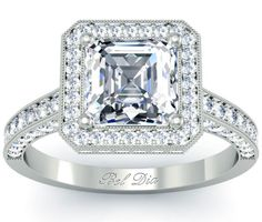Asscher Diamond Engagement Ring with Halo