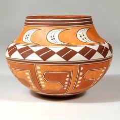 "#adobegallery - Acoma Pueblo Small Polychrome Olla. Delores Juanico (1969 - )      Category: Contemporary     Origin: Acoma Pueblo     Medium: clay, pigment     Size: 3-3/4"" depth x 5-1/4"" diameter     Item # 25852"