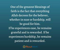 One of the greatest blessings is faith
