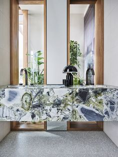 Bold, mint-green marble dominates the bathroom at Clarion owing to the permeable relationship between indoor and outdoor, with vistas to… Bad Inspiration, Bathroom Inspiration, Interior Inspiration, Interior Architecture, Interior And Exterior, Floating Vanity, Beautiful Bathrooms, Bathroom Interior, Bathroom Trends