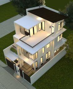 Duplex House Design, House Front Design, Small House Design, Modern Exterior House Designs, Dream House Exterior, Modern House Design, Home Building Design, Home Design Plans, Building A House