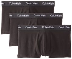 Calvin Klein Men's 3-Pack Cotton Stretch Low Rise Trunk, Black, Small