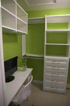 Happy Green Master Closet - I may not paint my closet that colour, but I love the idea of fitting an office in a small space.
