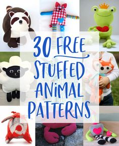 Dogs, bears, foxes, raccoons, robots, and more free stuffed animal patterns with tutorials. Sewing Patterns Free, Free Sewing, Poncho Patterns, Loom Patterns, Hand Sewing, Knitting Patterns, Sewing Toys, Sewing Crafts, Sewing Art
