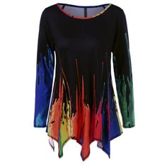 Splatter Paint Handkerchief Tunic T-Shirt, COLORMIX, XL in Long Sleeves | DressLily.com