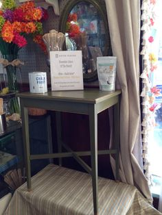 This side table and mirror, painted in Olive Chalk Paint® with gold gilding detail, set the stage for our new Color of the Month promotion! Stop into the shop in November and take 10% off your purchase of Olive, one of our favorite Fall hues!