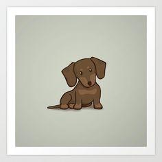 Daschund Puppy Illustration Art Print by Li Kim Goh - $19.00