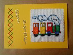 cross-stitch train 3rd birthday card