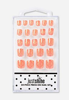 Just Shine Golden Tribal Press On Nails - Fake Nails For Kids, Nail Art For Girls, Girls Nails, Tween Girl Gifts, Birthday Gifts For Girls, Stick On Nails, Glue On Nails, Miniature Dollhouse Accessories, Galaxy Cake