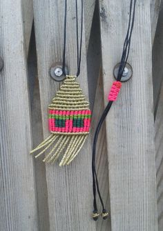Macrame necklace small-house/ micromacrame/ jewelry by lulupica