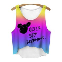 Never stop dreaming mickey crop top fashion emoji tank top ladies... ($19) ❤ liked on Polyvore