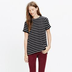 E5288 - With its feminine drape and higher-in-front hem, this silk top is the T-shirt refined. We love its bold black-and-white stripes. True to size.Silk.Dry clean.