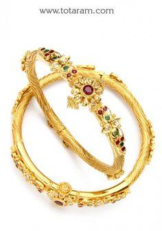 22K Gold Kada with Uncut Diamonds: Totaram Jewelers: Buy Indian Gold jewelry & 18K Diamond jewelry