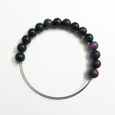 Mashan Jade Black Green Pink Beads Expandable Unisex Wire Bracelet by JulemiJewelry, $18.00