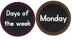 DAYS OF THE WEEK - MINI CHALKBOARD CIRCLES - TeachersPayTeachers.com $1.50