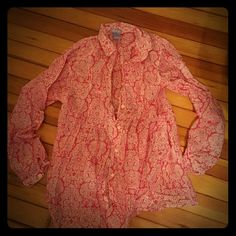 GAP Maternity Long Sleeve Blouse NWOT maternity top. Bright pink with a paisley pattern. Never worn! GAP Tops Blouses