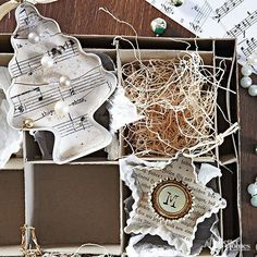 Repurpose+vintage+cookie+cutters+into+shadowbox+ornaments+with+shabby+chic+flair.+Brush+cookie+cutters+with+cream+paint;+then+line+the+back+with+sheet+music+or+book+pages.+Embellish+with+costume+jewelry,+metal+details,+and+beads./
