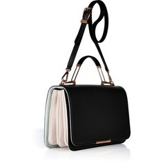 EMILIO PUCCI Black/Pink Sugar/White Leather/Suede Accordion Satchel ($2,360) ❤ liked on Polyvore