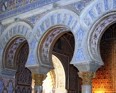 Mudéjar Architecture in the oldest already in use royal palace of the world, the Reales Alcázares of Seville, Spain