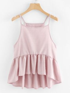 To find out about the Ruffle Hem Pleated Cami Top at SHEIN, part of our latest Tank Tops & Camis ready to shop online today! Cute Summer Outfits, Trendy Outfits, Cute Outfits, Girls Fashion Clothes, Girl Fashion, Fashion Outfits, Outfit Elegantes, Look Star, Crop Top Outfits