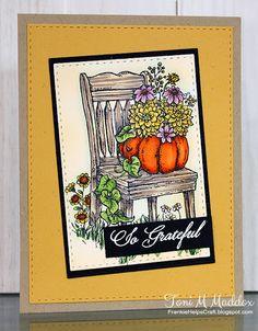 Frankie Helps Craft, Toni M Maddox, handmade CAS card, Power Poppy, coloring, Autumn, Thanksgiving