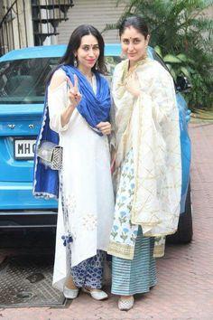 Photos: Kareena Kapoor Khan, Taimur Ali Khan and Karisma Kapoor are all decked up for Diwali Kurta Designs Women, Salwar Designs, Blouse Designs, Pakistani Dresses, Indian Dresses, Indian Outfits, Punjabi Dress, Punjabi Suits, Indian Attire