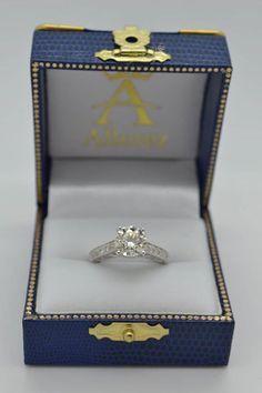 Vintage Style Cathedral Diamond Engagement Ring 18k White Gold 2.33ct - Allurez.com