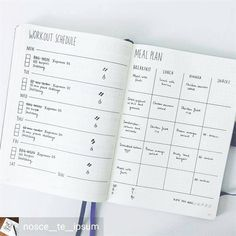 Just some bullet journal ideas to help create the ILLUSION OF PRODUCTIVITY. Bullet Journal Meal Plan, Bullet Journal Simple, Bullet Journal Workout, Minimalist Bullet Journal, Fitness Journal, Bullet Journal Spread, Fitness Planner, Bullet Journal Ideas Pages, Bullet Journal Layout