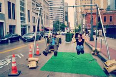 """Swing Parks: A New Idea for Placemaking (Parksify).   When Patrick McDonnell had the idea to create pop-up swing sets in empty parking lots, he set out to face the challenge of making it affordable so that anyone could create what he calls SWING PARKS. """"Why not put a swing set in an empty parking lot, so that the space could be useful and active after market hours—and yet still be used as a parking lot during the day and weekends,"""" McDonnell asked.  #placebranding"""