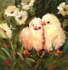 """Daily Paintworks - """"Chicks and Daisies"""" - Original Fine Art for Sale - © Krista Eaton"""