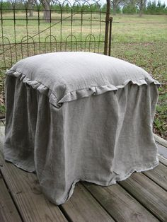 Ottoman Slipcover with small ruffle in skirt seam Ottoman Slipcover, Ottoman Cover, Sofa Slipcovers, Painters Cloth, French Country Farmhouse, Vanity Stool, French Decor, Chair Covers, Upholstered Furniture