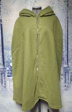 Olive Green Fleece Cloak Size Medium with hood Wet Weather, Cloak, Olive Green, Hooded Jacket, Thighs, Costume, Medium, Sweatshirts, Sweaters