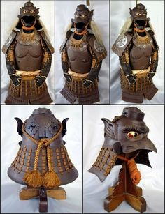 Kabuto and dou made by the renowned gendai katchu-shi (armor maker) Fukube Ichiro,  recognized as being one of the few and clearly the most talented of gendai smiths in the art of embossing. Highly respected, Ichiro, as he often signed his works is listed in Dr. Yoshihiko Sasama's Shin Katchu-Shi Meikan. This armour grouping is the only example of its type known to exist in the world other than the 1854 Myochin Munekiyo example sold at Christie's in 2003.