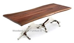 Wooden Dining Table with Stainless Steel Base