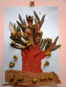 Handprint olive tree craft