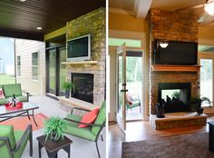Double sided indoor/ outdoor fireplace. House Crashing: Four A Good Cause | Young House Love