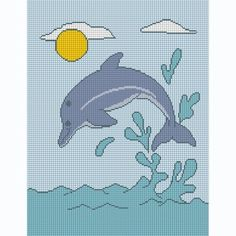 free dolphin afghan chart   JUMPING DOLPHIN CROCHET AFGHAN ...