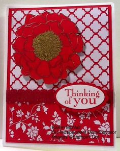 Blended Bloom Woodmount Stamp Walk in the Wild Stamp Set (Thinking of you) Gold Embosing Powder Real Red Stampin Write Marker Hello Honey Stampin Write Marker Fresh Prints Designer Series Paper Red Ribbon to match Whisper White Cardstock on inside Real Red Cardstock Scallop Oval Punch Oval Punch