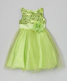 Look at this #zulilyfind! Green Sequin Tulle A-Line Dress - Infant, Toddler & Girls #zulilyfinds