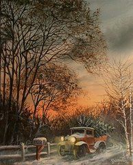 Christmas Paintings - Christmas Tree Delivery by Tom Shropshire